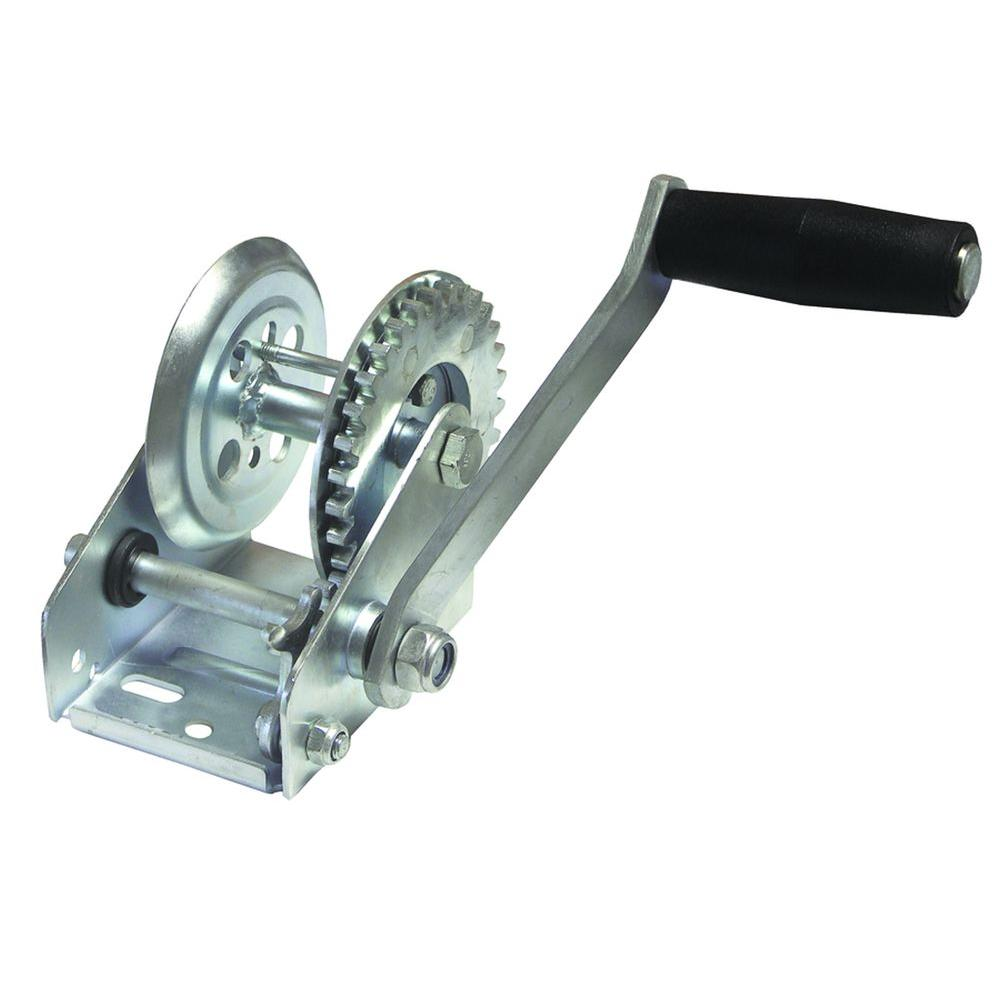 invincible marine 600 lb zinc plated trailer winch with solid gears