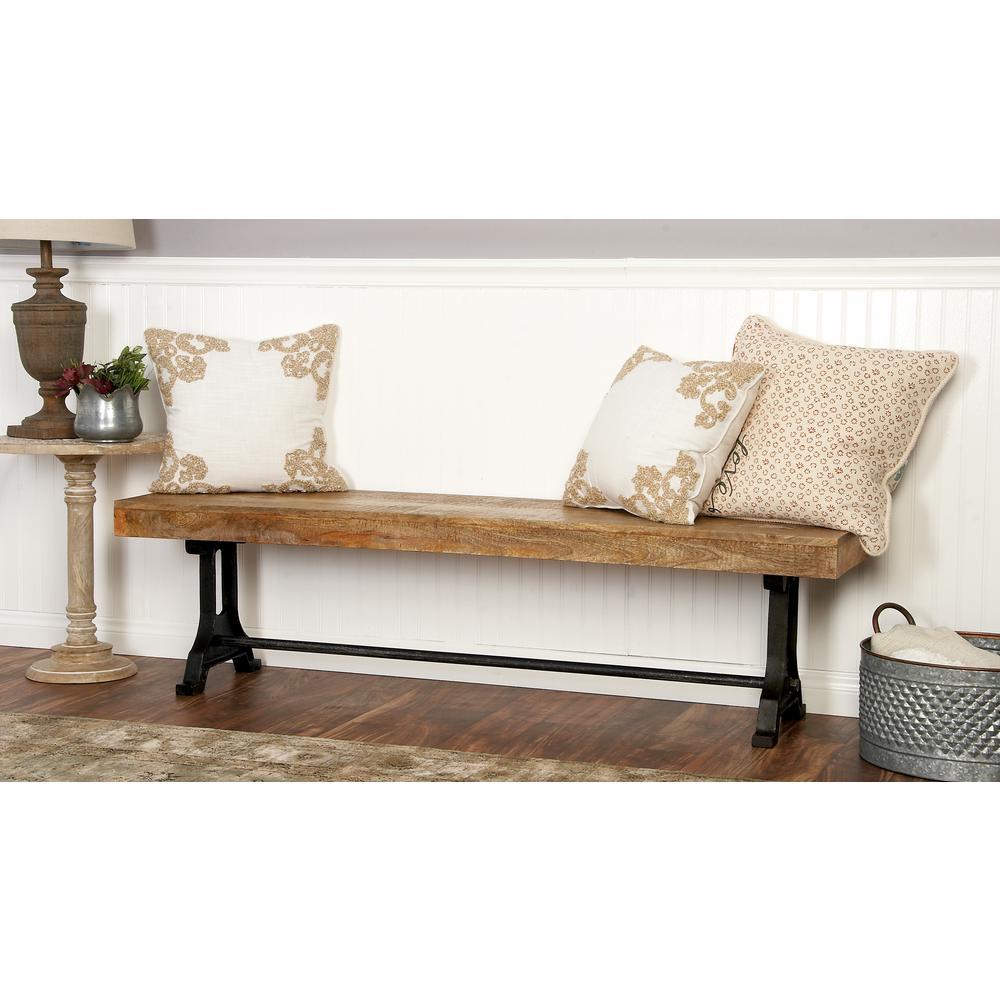 Modern Crossbar Wooden Bench by