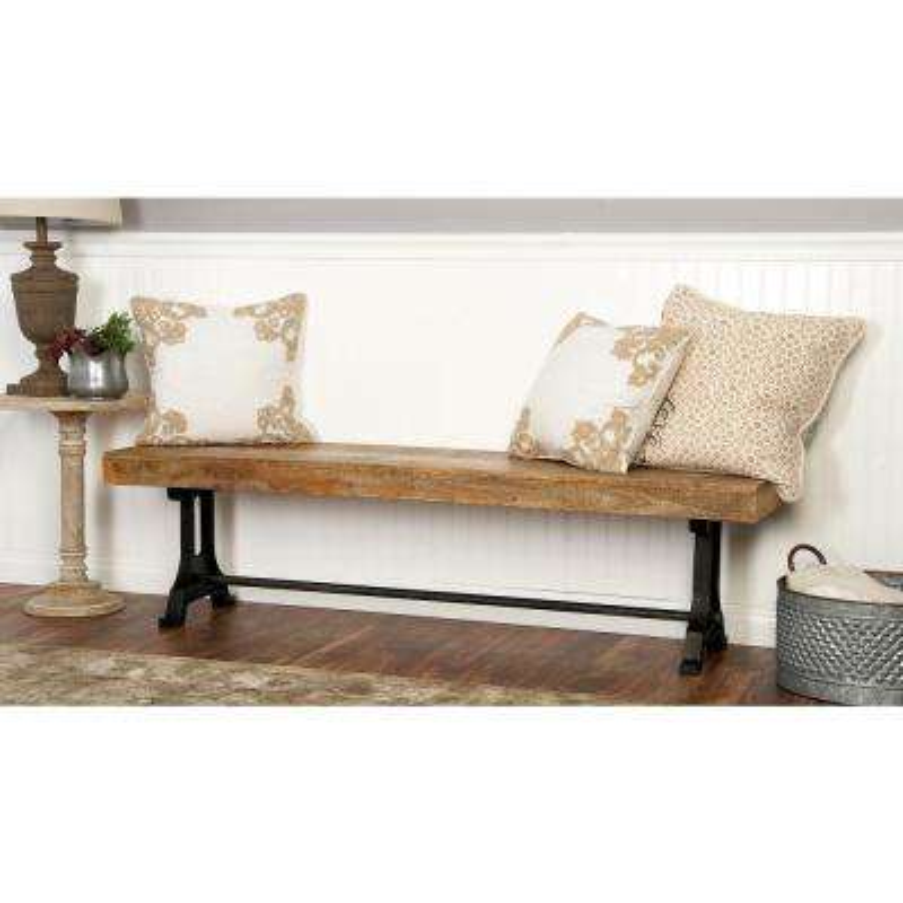 Modern Crossbar Wooden Bench