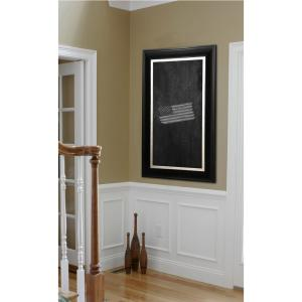 31 inch x 31 inch Grand Black and Aged Silver Blackboard/Chalkboard by