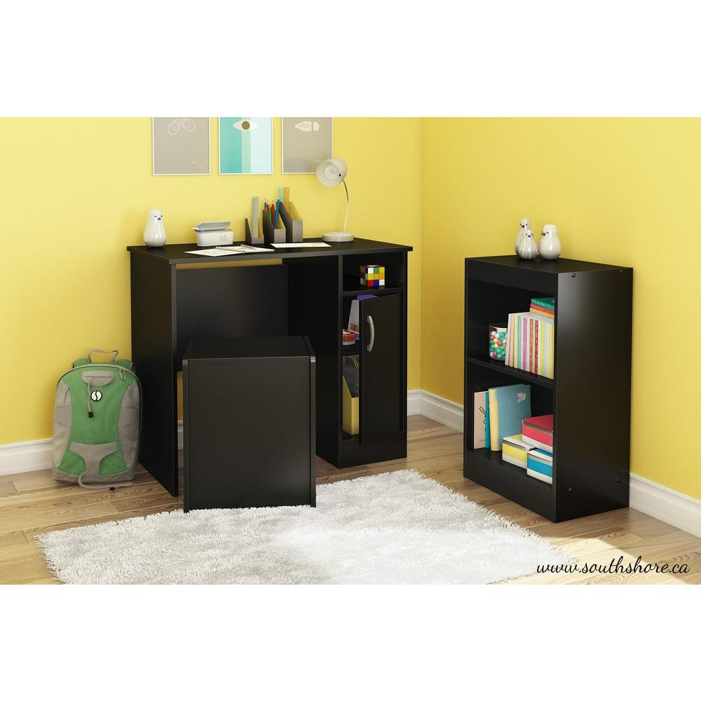 south shore freeport desk  storage bench and bookcase set in pure black-7270700