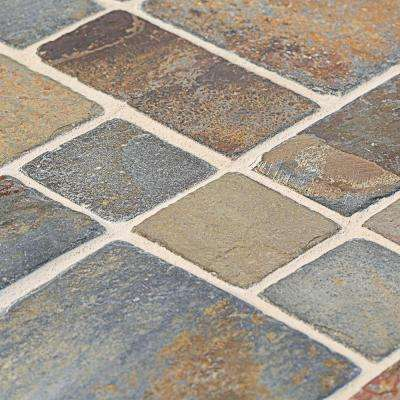 Rust Block Medley 11.75 in. x 11.75 in. x 11.5 mm Slate Mosaic Wall Tile