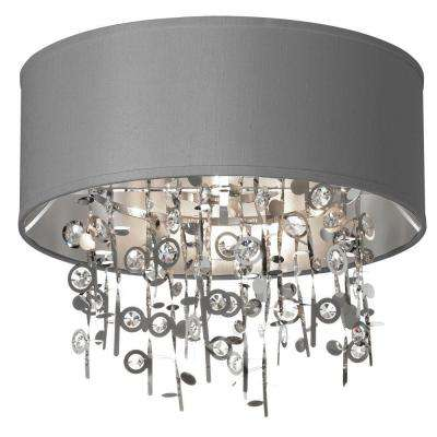 Picabo 4-Light Polished Chrome Crystal Semi-Flush Mount with Silver Shade