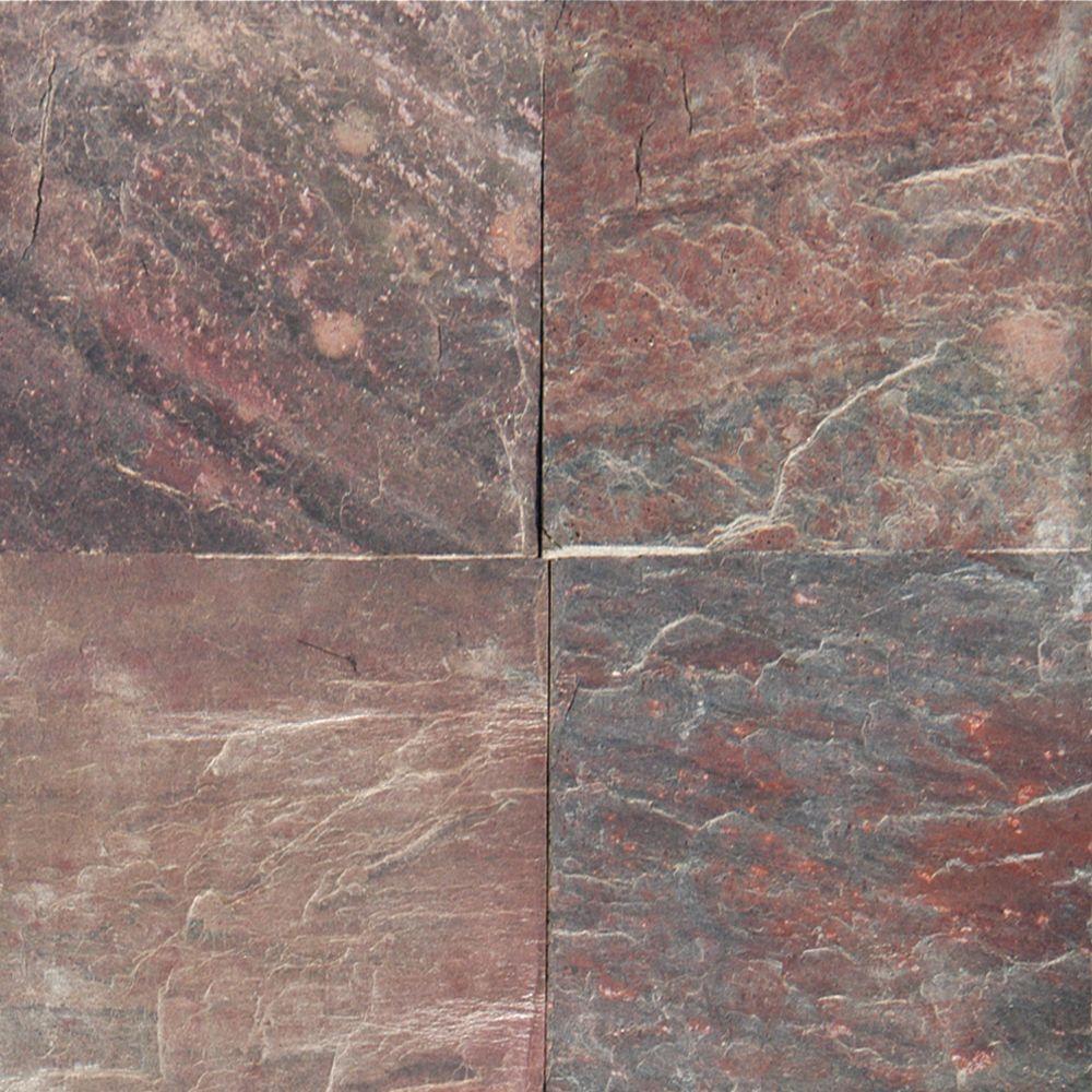 Msi Copper Fire (Red) 16 in. x 16 in. Honed Quartzite Flo...