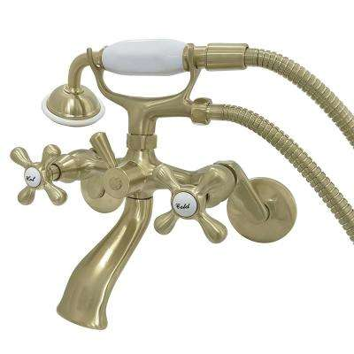 Wall-Mount Adjustable Centers 3-Handle Claw Foot Tub Faucet with Hand Shower in Satin Brass