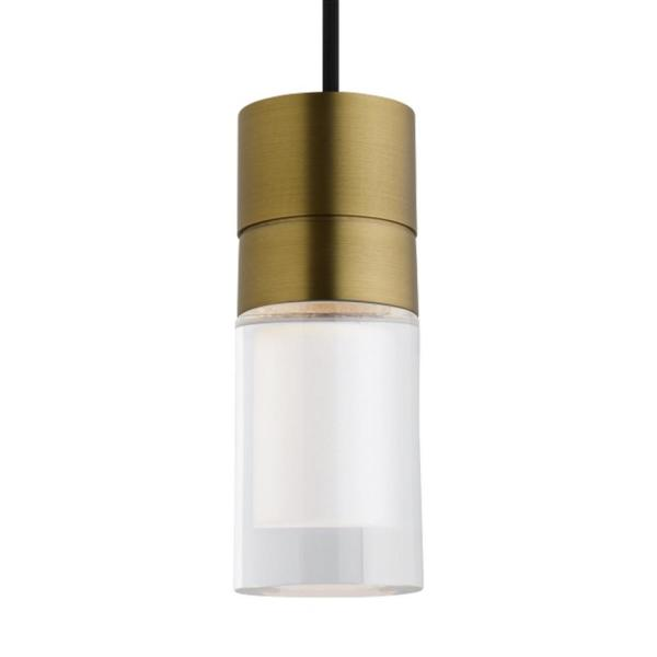 Sopra 14.5-Watt Integrated LED Aged Brass Pendant with Clear Glass Shade