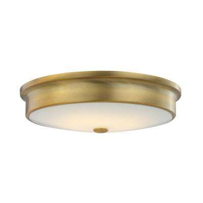 Versailles 15 in. Aged Brass 25-Watt Integrated LED Flushmount with White Glass Shade
