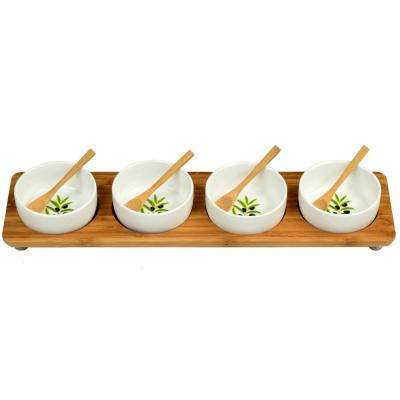 Bamboo Entertaining Set with 4 Ceramic Bowls in Line