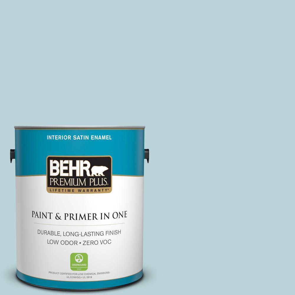 1-gal. #510E-2 Rhythmic Blue Zero VOC Satin Enamel Interior Paint