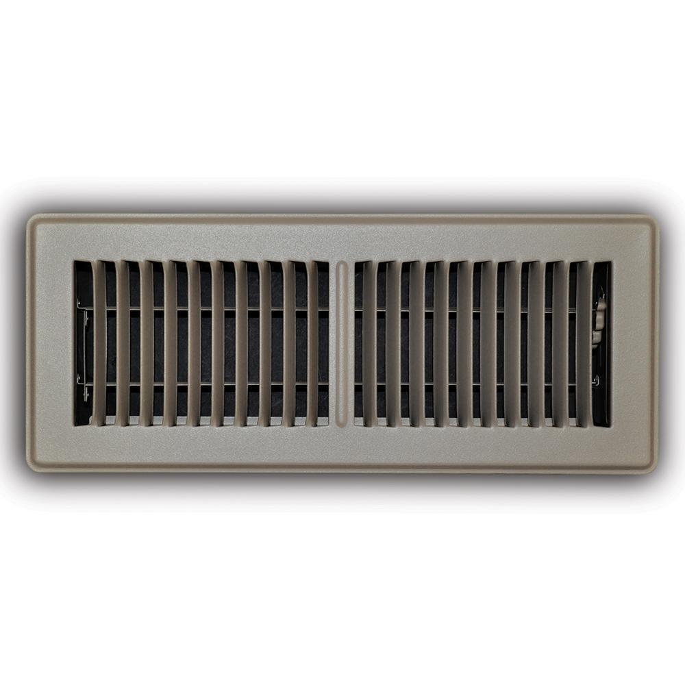 4 in. x 12 in. 2-Way Steel Floor Register in Brown