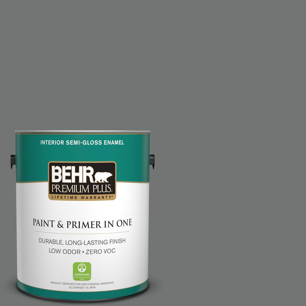 BEHR Premium Plus 1-gal. #N520-5 Iron Mountain Semi-Gloss Enamel Interior Paint