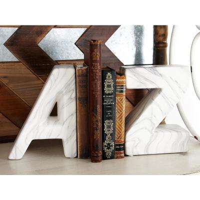 White Ceramic A and Z Bookends (Set of 2)
