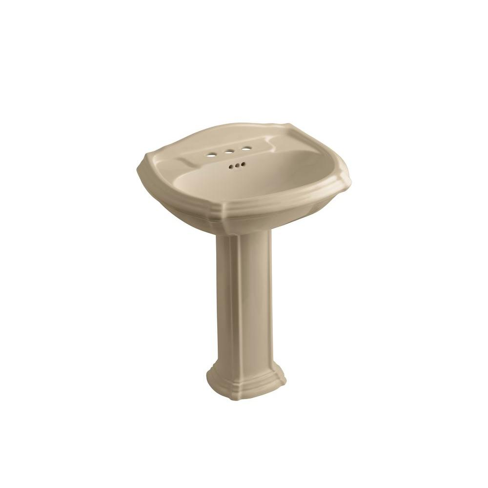 KOHLER Portrait Vitreous China Pedestal Combo Bathroom Sink in Mexican Sand with Overflow Drain
