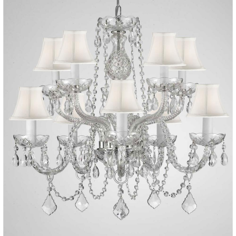 10 light empress crystal chandelier with white shades t22 1823 the 10 light empress crystal chandelier with white shades arubaitofo Gallery