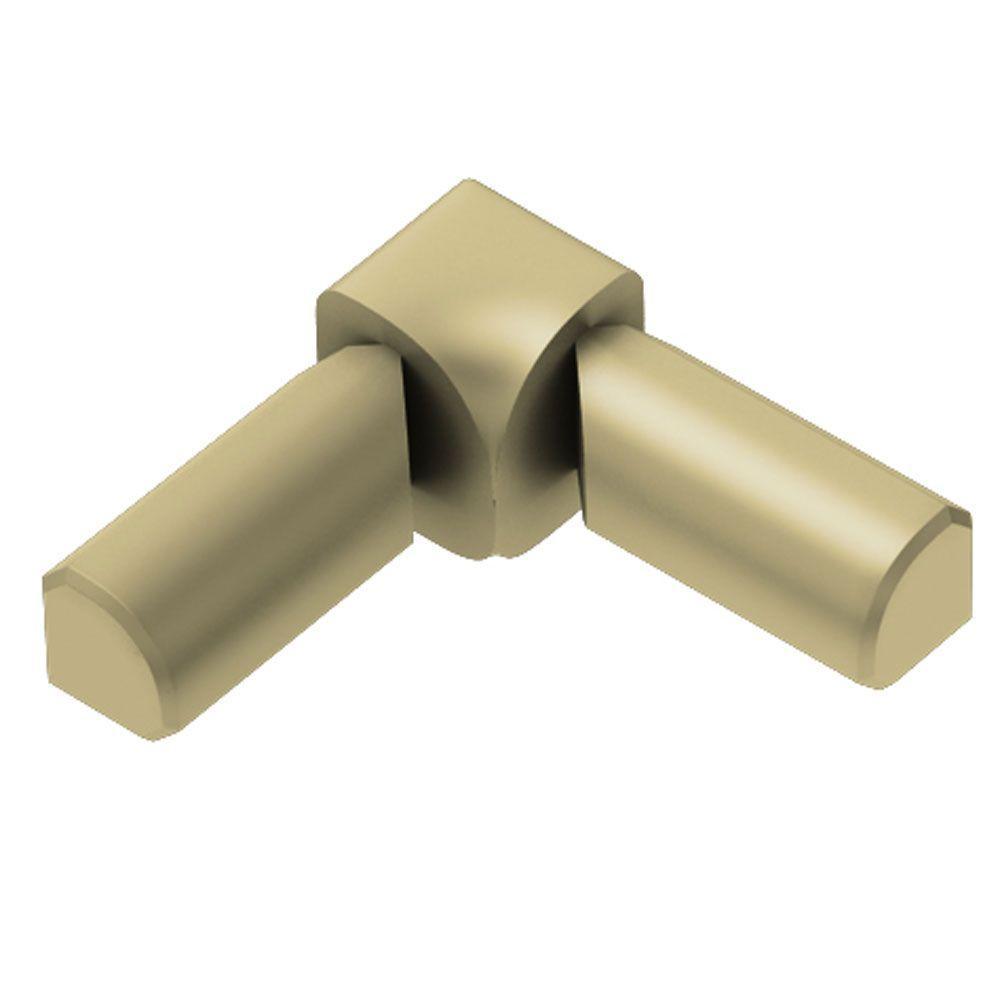 Rondec Satin Brass Anodized Aluminum 1/2 in. x 1 in. Metal 90 Degree Double-Leg Inside Corner