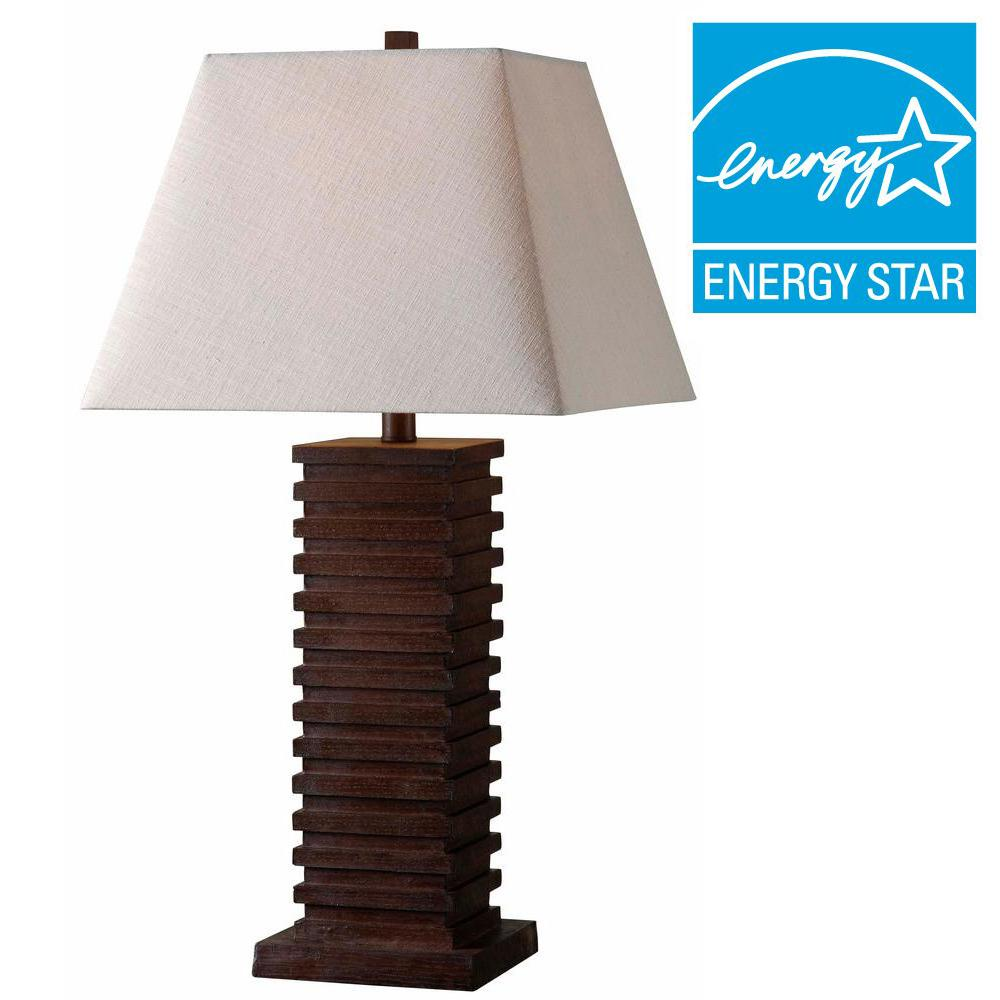 Kenroy Home Sawmill 28 in. H Dark Walnut Table Lamp