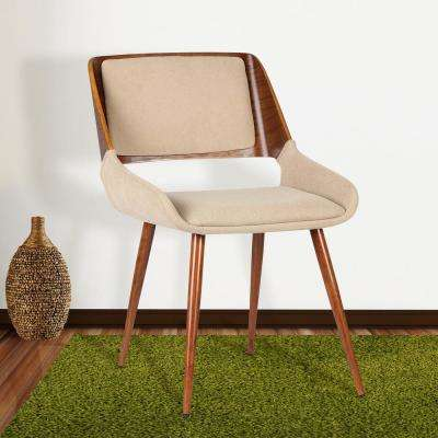 Panda 31 in. Brown Fabric and Walnut Wood Finish Mid-Century Dining Chair