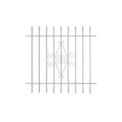 42 in. x 42 in. Spear Point 9-Bar Security Bar Window Guard, White