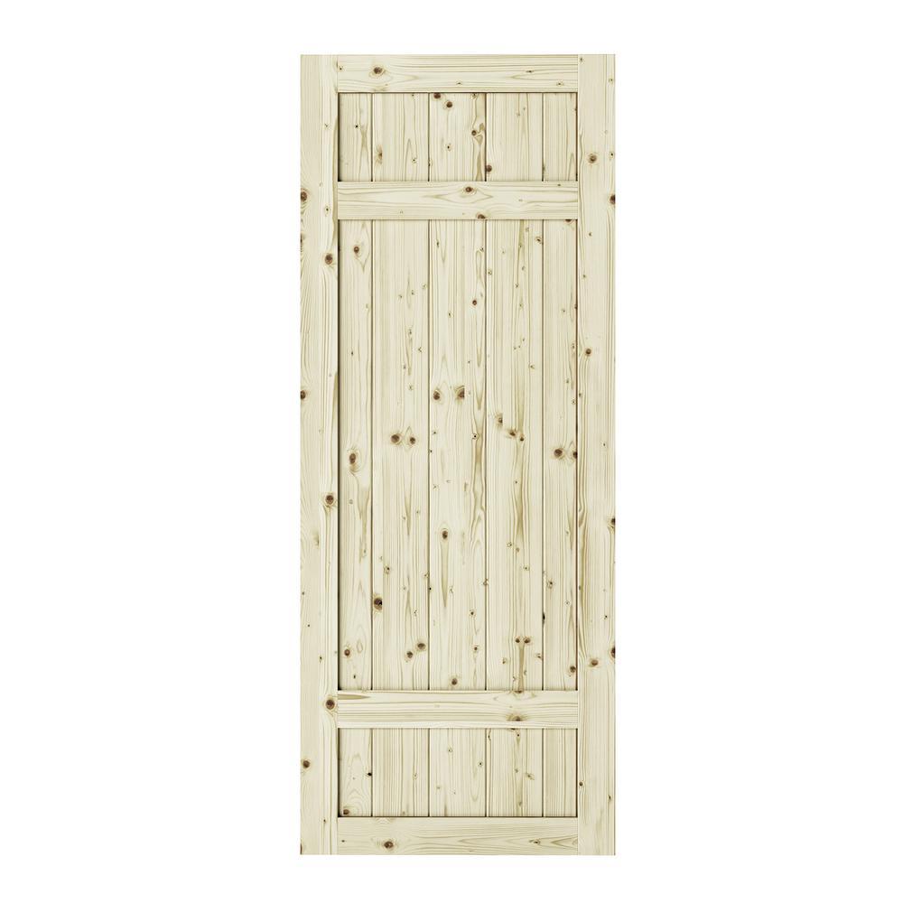 33 in. x 84 in. Barrel 3-Panel Unfinished Knotty Pine Interior Barn Door Slab