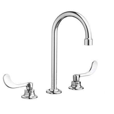 Monterrey 8 in. Widespread 2-Handle 0.5 GPM Gooseneck Bath Faucet with Vandal Resistant Lever Handles in Polished Chrome