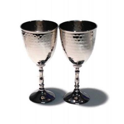 7 in. H 3.25 in. Dia Pair of Hammered Goblets