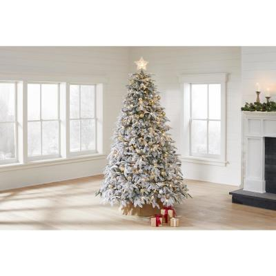 7.5 ft. Pre-Lit LED Flocked Mixed Pine Artificial Christmas Tree with 500 Warm White Lights