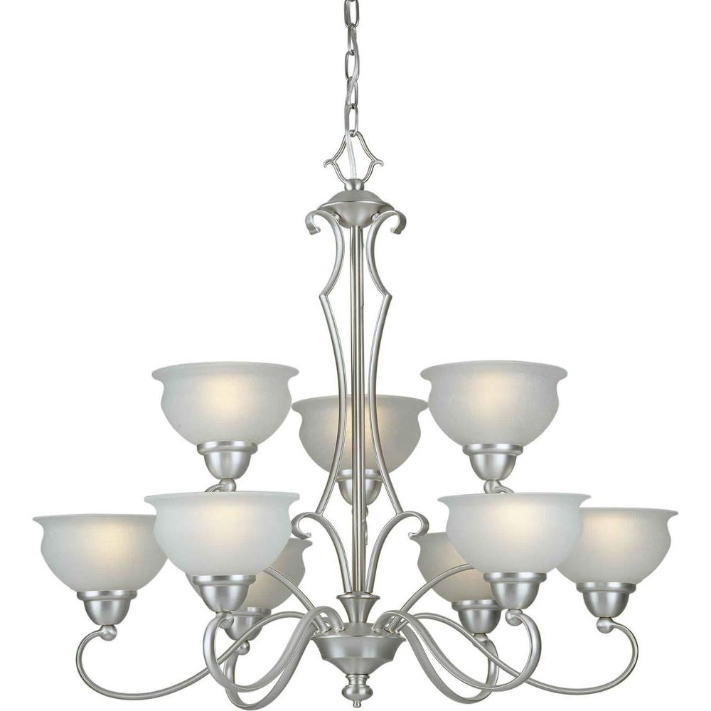Talista 9-Light Brushed Nickel Chandelier with White Linen Glass Shade