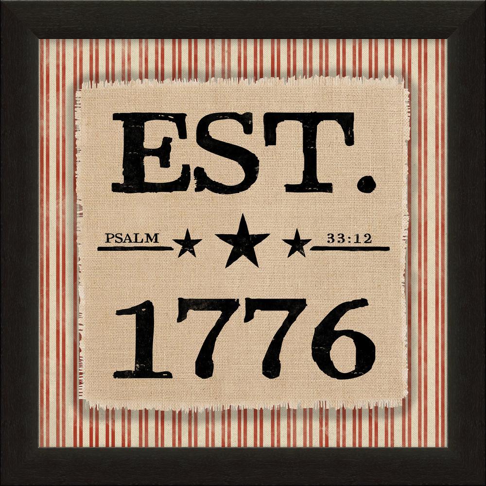 """Vintage Patriotic """"Psalm 33:12, EST 1776"""" By Carpentree Framed Natural Canvas"""
