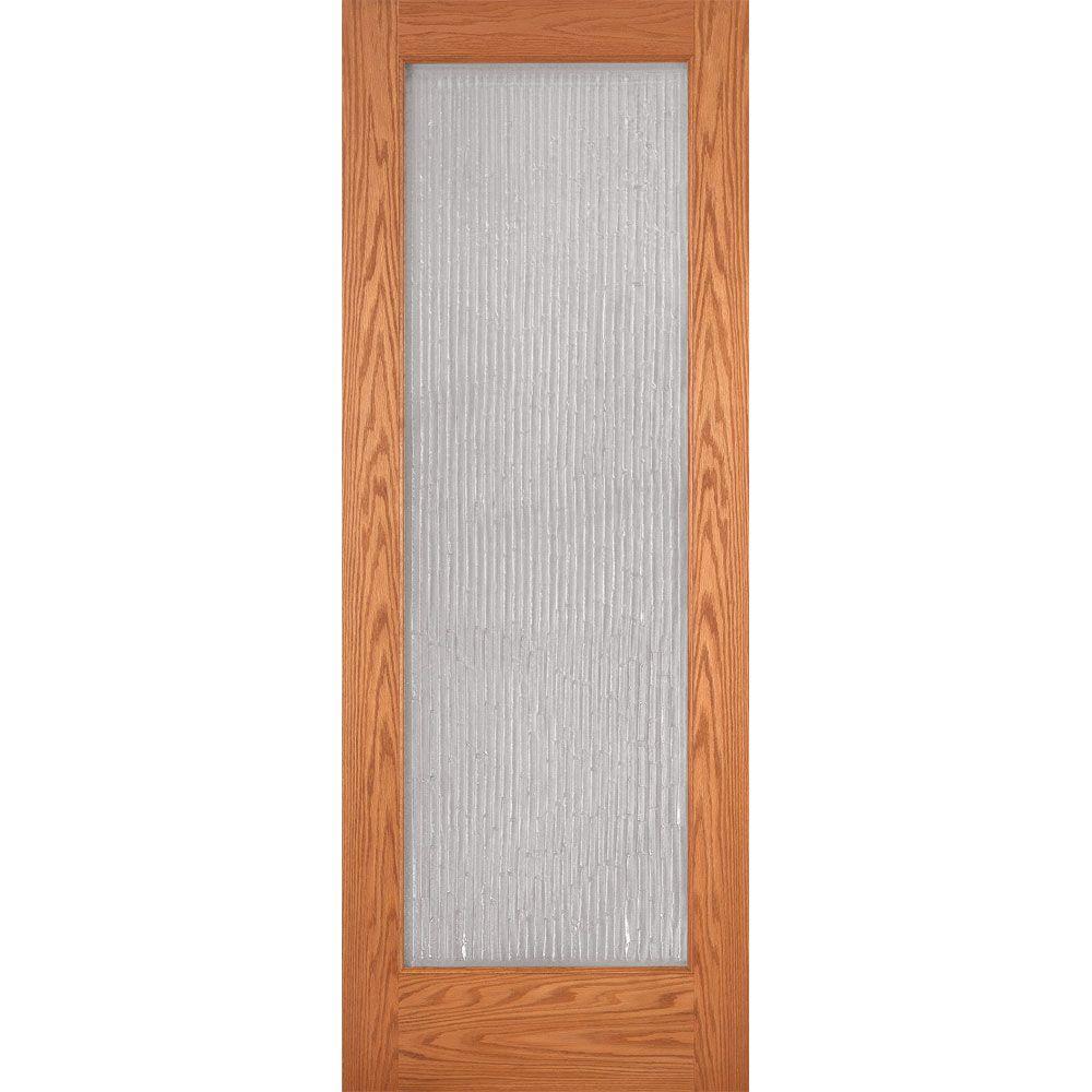 Feather River Doors 32 in. x 80 in. 1 Lite Unfinished Oak Bamboo Casting Woodgrain Interior Door Slab