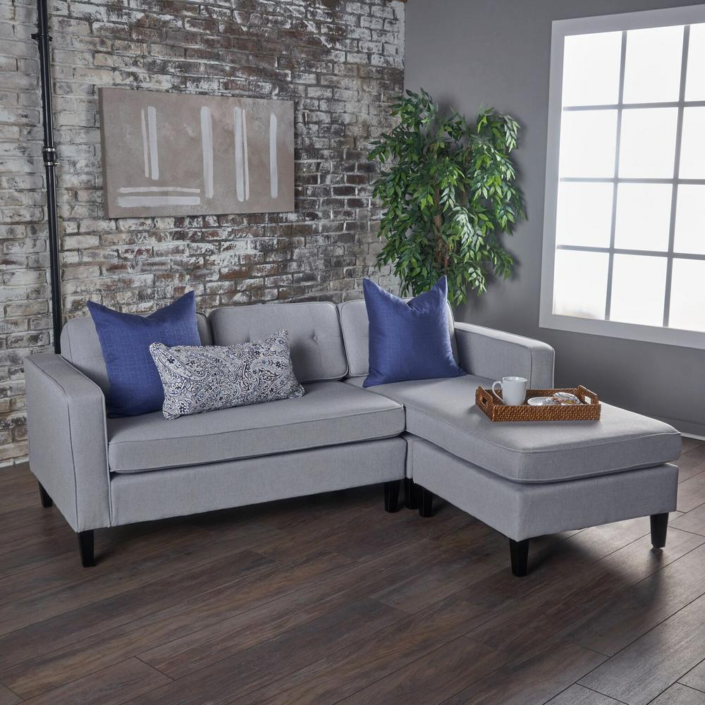 2 piece light gray fabric chaise sectional