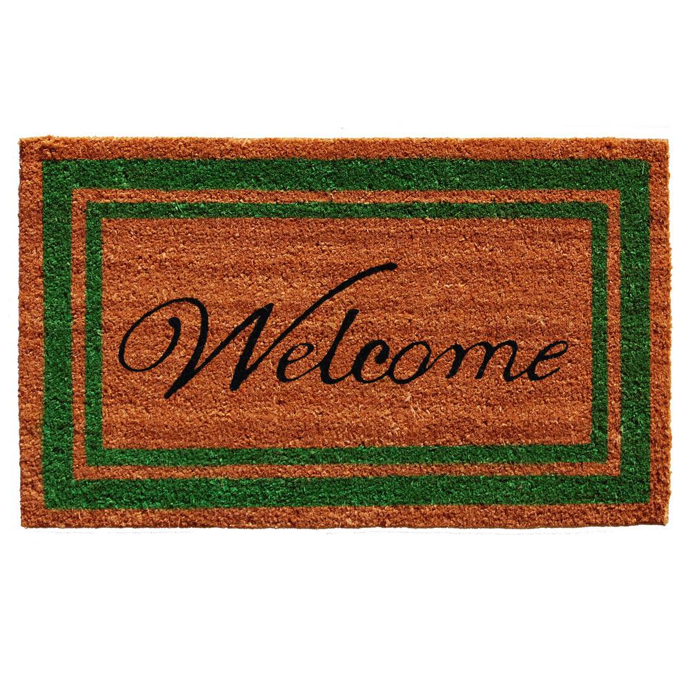 Green Border Welcome Door Mat 18 in. x 30 in.