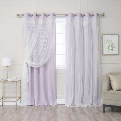Lilac 96 in. L Elis Lace Overlay Blackout Curtain Panel (2-Pack)