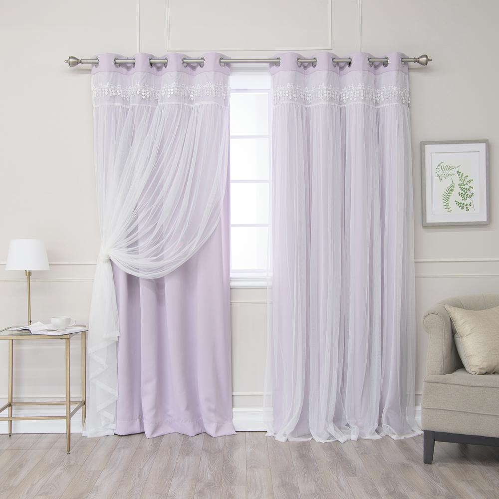 Best Home Fashion Lilac 84 in. L Elis Lace Overlay Blackout Curtain Panel (2-Pack)