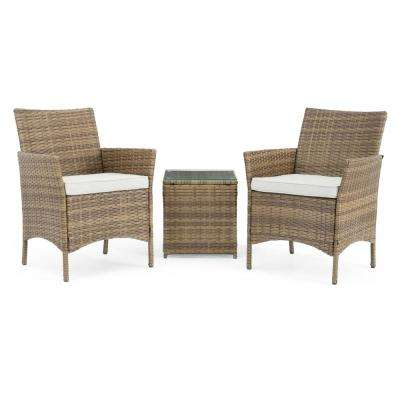 Silva Brown 3-Piece Wicker Patio Conversation Set with Beige Cushions