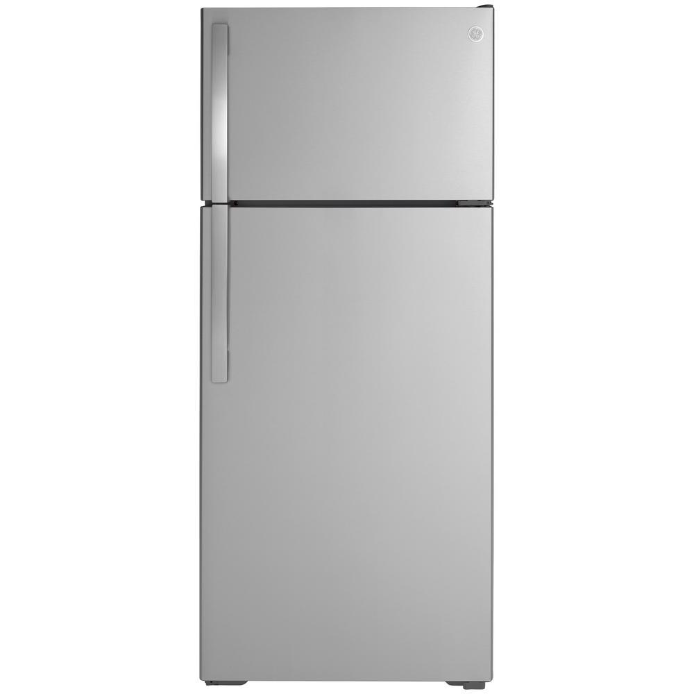 GE 17.5 cu. ft. Top Freezer Refrigerator in Stainless Steel, ENERGY STAR