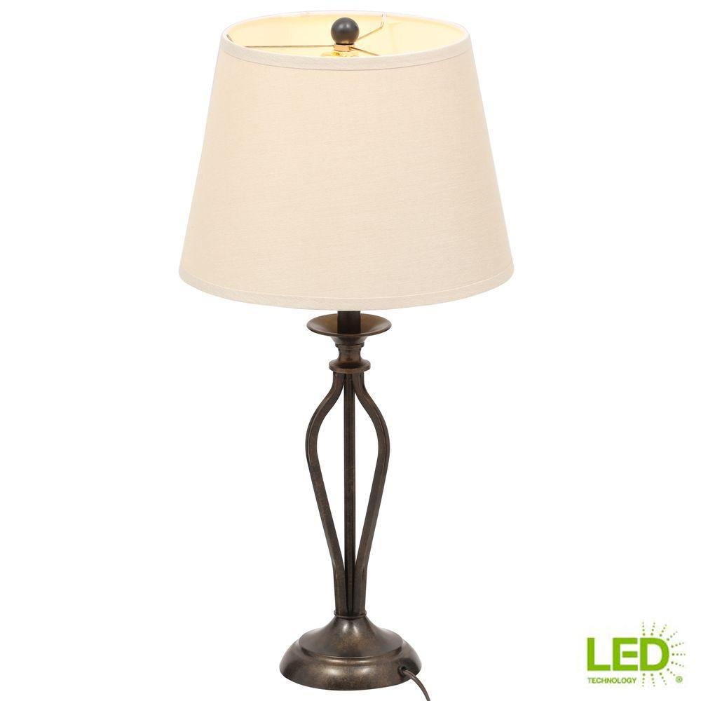 Hampton Bay Rhodes 28 in. Bronze with Highlights Table Lamp and 9.5-Watts LED Bulb Included