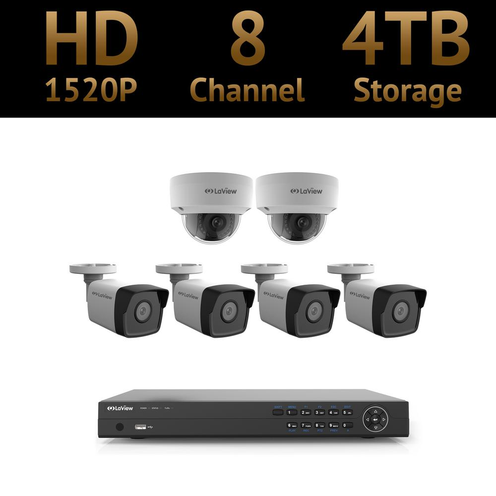 LaView 8-Channel Full HD 4MP IP Indoor/Outdoor Surveillan...