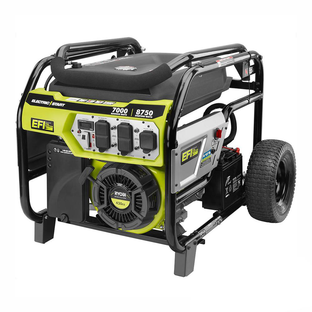 RYOBI 7,000 Running Watt Electronic Fuel Injected (EFI) Gasoline Powered Electric Start Portable Generator