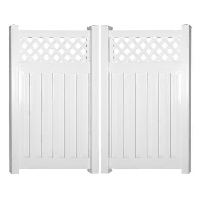 Clearwater 8 ft. W x 6 ft. H White Vinyl Privacy Fence Double Gate Kit