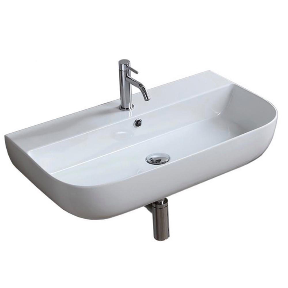 Nameeks Glam Wall Mounted Bathroom Sink In White