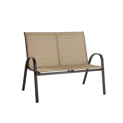 Mix and Match Stackable Metal Outdoor Loveseat in Cafe Sling