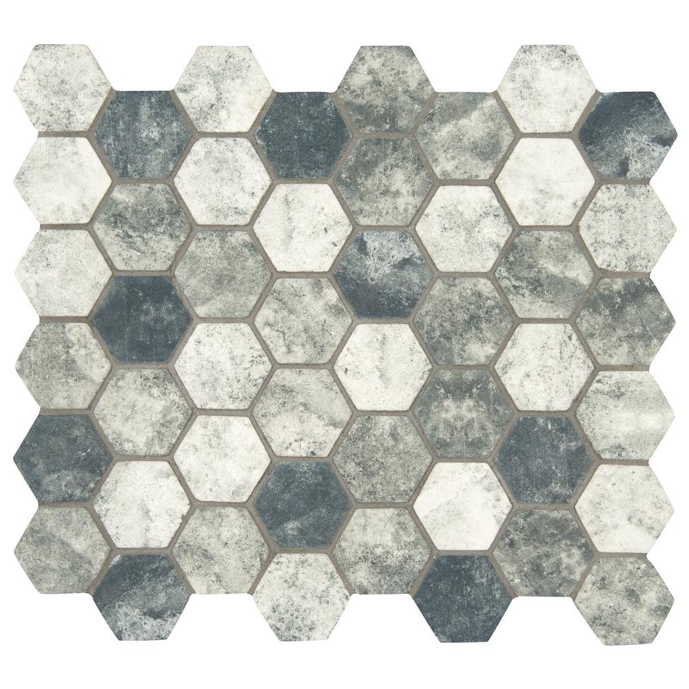 MSI Urban Tapestry Hexagon 12 in. x 12 in. x 6 mm Glass Mesh-Mounted Mosaic Tile