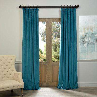 Blackout Signature Everglade Teal Blue Blackout Velvet Curtain - 50 in. W x 108 in. L (1 Panel)