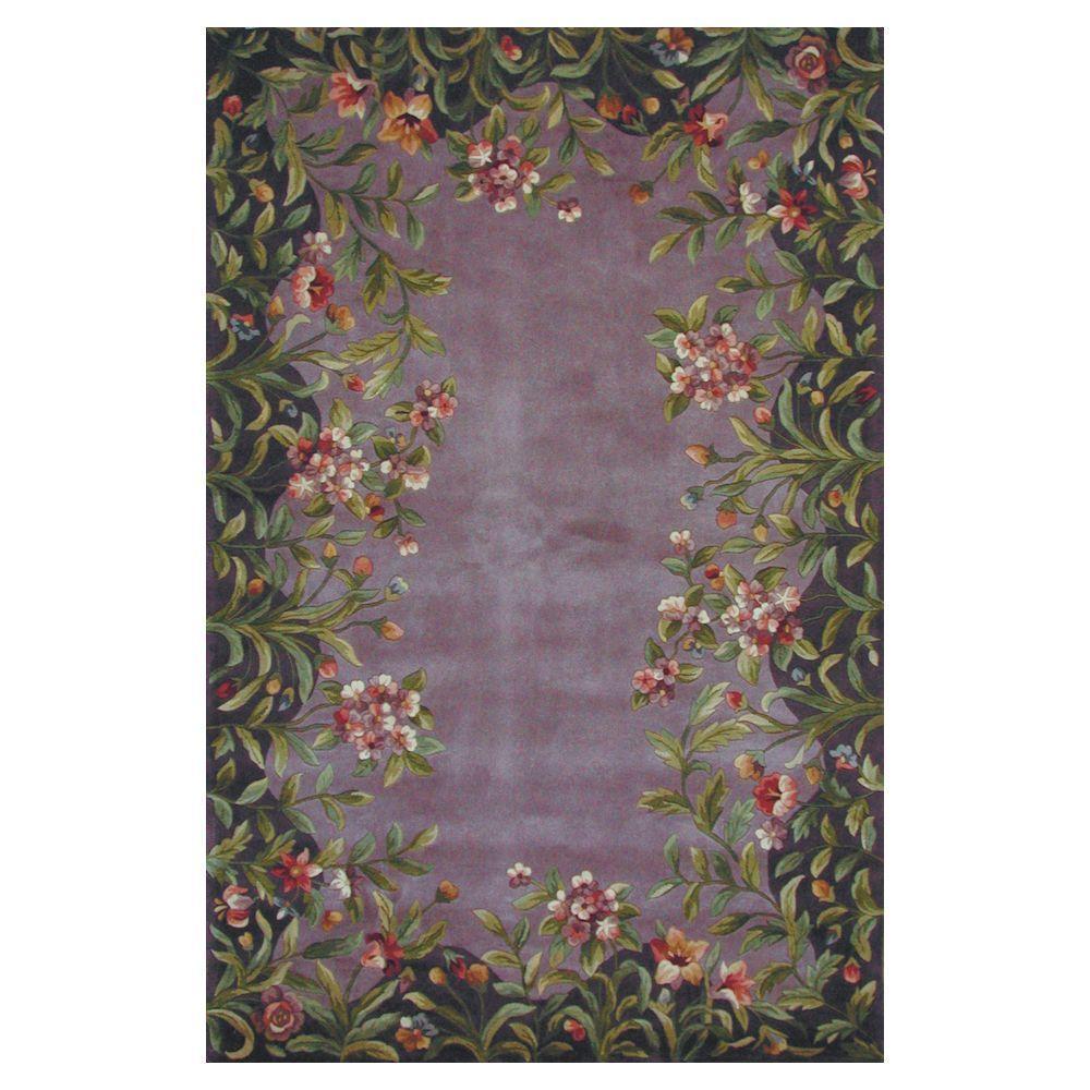 Kas Rugs Floral Border Lavender 2 ft. 6 in. x 4 ft. 6 in. Area Rug