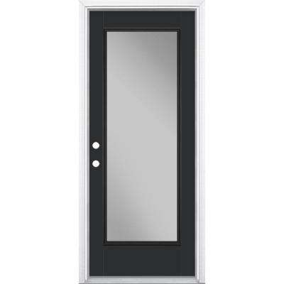 32 in. x 80 in. Full Lite Jet Black Right-Hand Inswing Painted Smooth Fiberglass Prehung Front Door w/ Brickmold