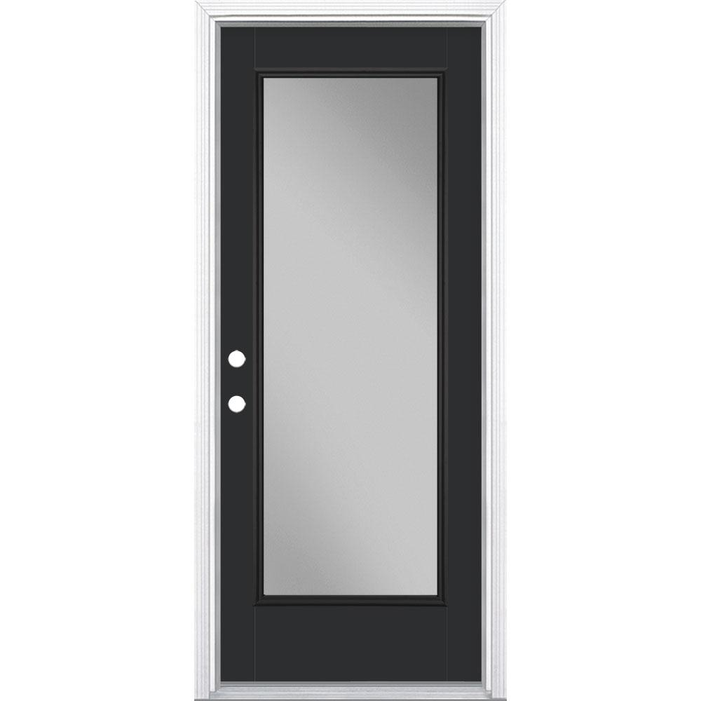 Masonite 32 in. x 80 in. Full Lite Jet Black Right-Hand Inswing Painted Smooth Fiberglass Prehung Front Door w/ Brickmold