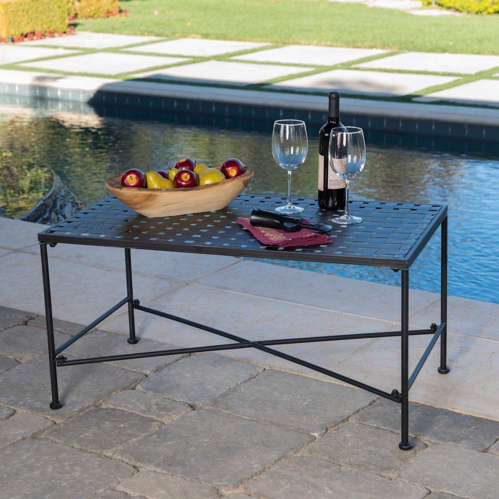Petra Black Rectangle Metal Outdoor Coffee Table-296746
