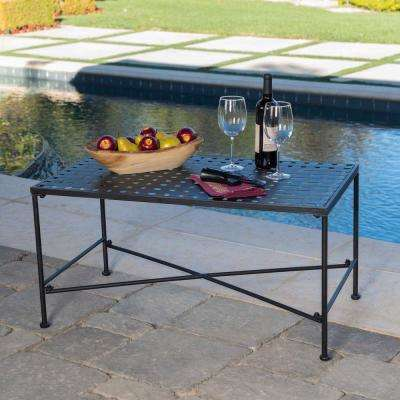 Petra Black Rectangle Metal Outdoor Coffee Table - No Additional Features - Iron - Outdoor Coffee Tables - Patio Tables