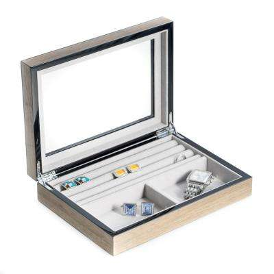 10 in. D x 2.25 in. H x 7 in. W Wood Jewelry Case in Gray