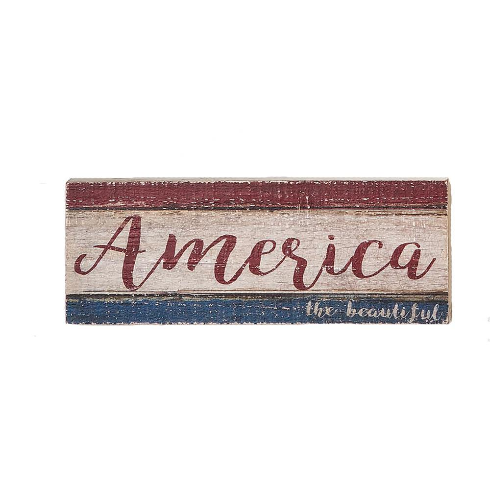 Worth Imports 16 in. Distressed America The Beautiful Wood Sign (Set of 2), red/white and blue was $45.9 now $28.05 (39.0% off)